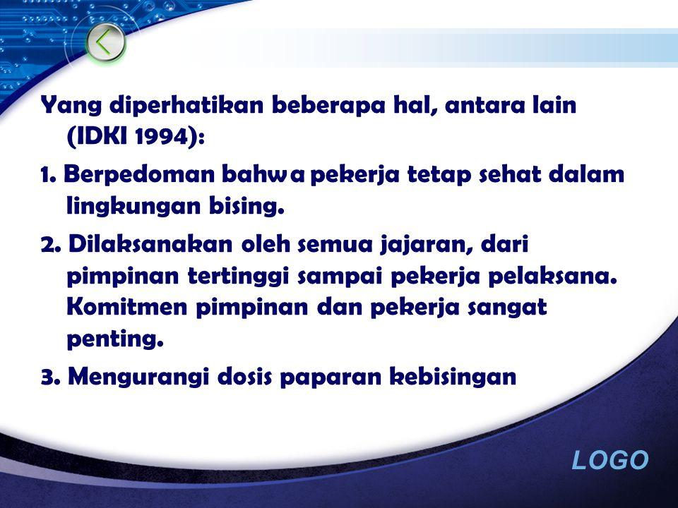 LOGO  Dukungan manajemen  Berupa policy statement  Integrated dengan program K3  Ada penanggung jawab program yang ditunjuk resmi  Penanggung jawab bekerja sama dengan manajemen dan karyawan membuat Hearing Lost Prevention Plan and Policy.
