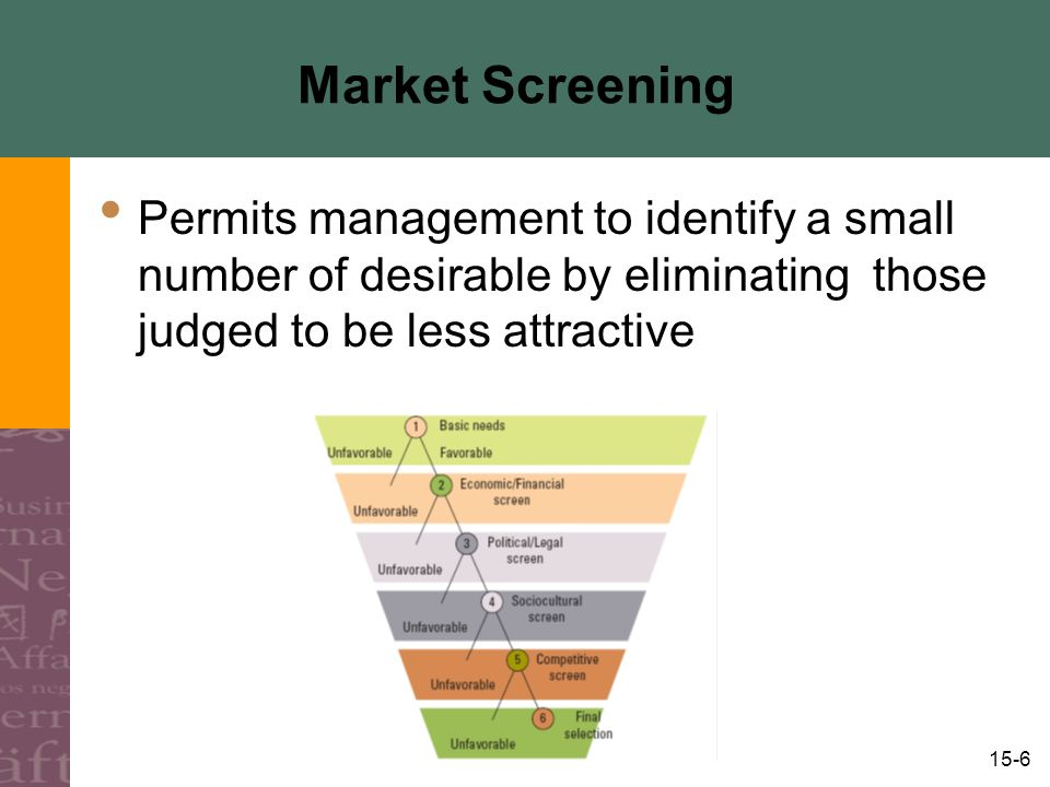 15-7 Market Screening Two Types of Screening Country Screening Using countries as the basis for market selection Segment Screening Using market segments as the basis for market selection