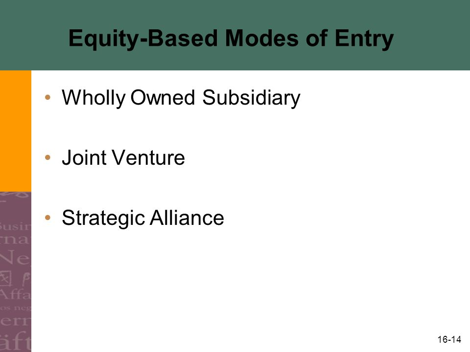 16-14 Equity-Based Modes of Entry Wholly Owned Subsidiary Joint Venture Strategic Alliance