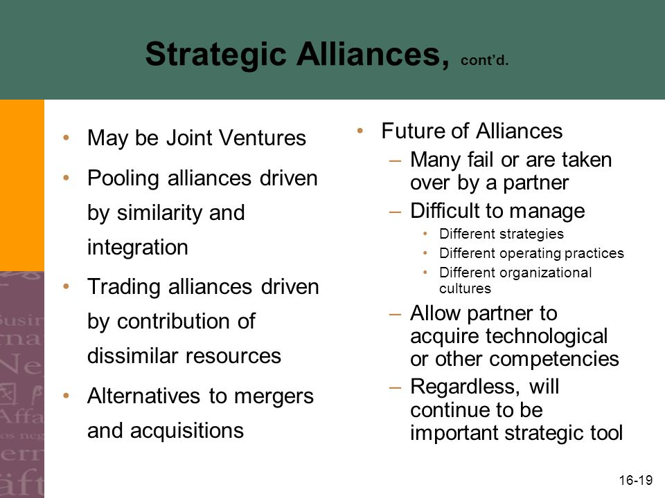 16-19 Strategic Alliances, cont'd.