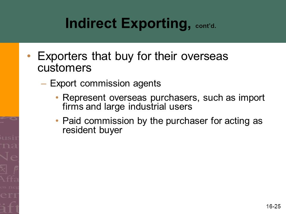 16-25 Indirect Exporting, cont'd.