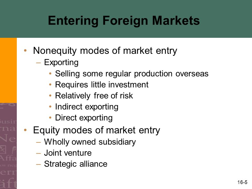 16-6 Summary: Modes of Entry