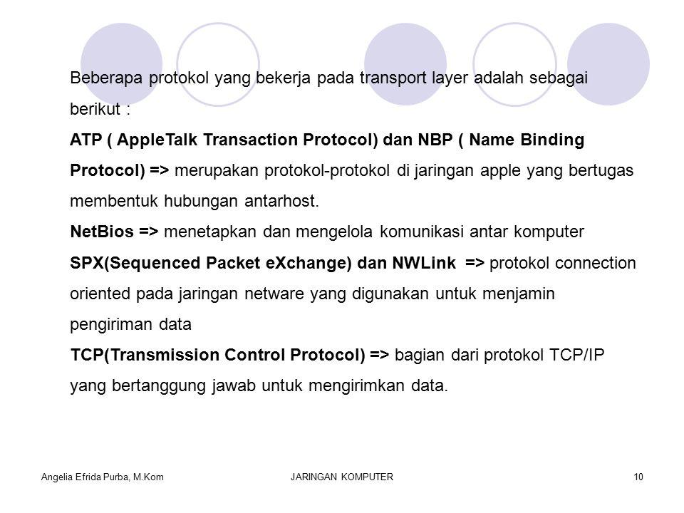 Angelia Efrida Purba, M.KomJARINGAN KOMPUTER10 Beberapa protokol yang bekerja pada transport layer adalah sebagai berikut : ATP ( AppleTalk Transaction Protocol) dan NBP ( Name Binding Protocol) => merupakan protokol-protokol di jaringan apple yang bertugas membentuk hubungan antarhost.