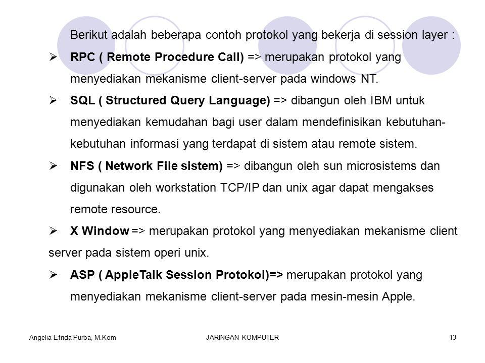 Angelia Efrida Purba, M.KomJARINGAN KOMPUTER13 Berikut adalah beberapa contoh protokol yang bekerja di session layer :  RPC ( Remote Procedure Call) => merupakan protokol yang menyediakan mekanisme client-server pada windows NT.