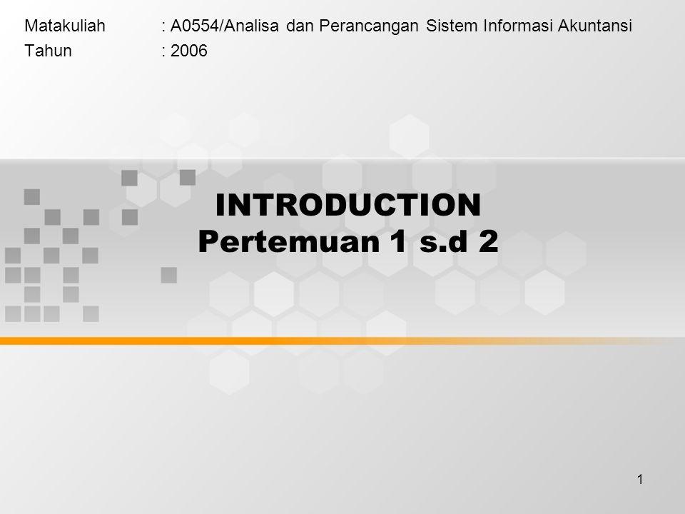 1 INTRODUCTION Pertemuan 1 s.d 2 Matakuliah: A0554/Analisa dan Perancangan Sistem Informasi Akuntansi Tahun: 2006