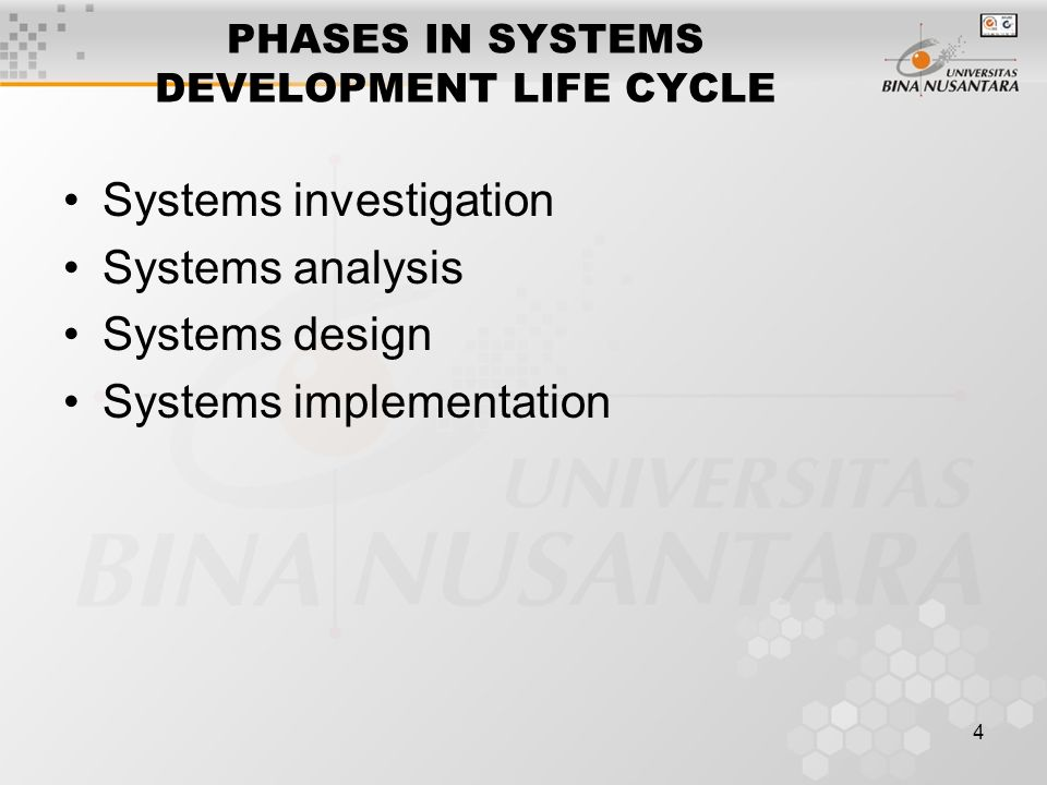 4 PHASES IN SYSTEMS DEVELOPMENT LIFE CYCLE Systems investigation Systems analysis Systems design Systems implementation