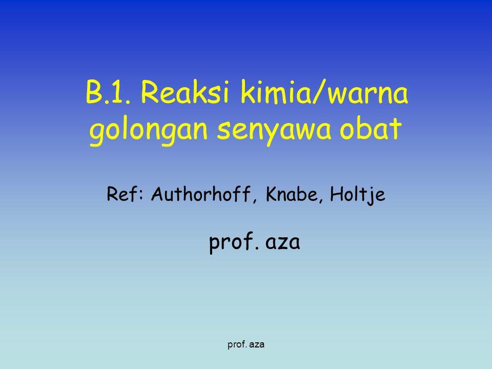 B.1. Reaksi kimia/warna golongan senyawa obat Ref: Authorhoff, Knabe, Holtje prof. aza