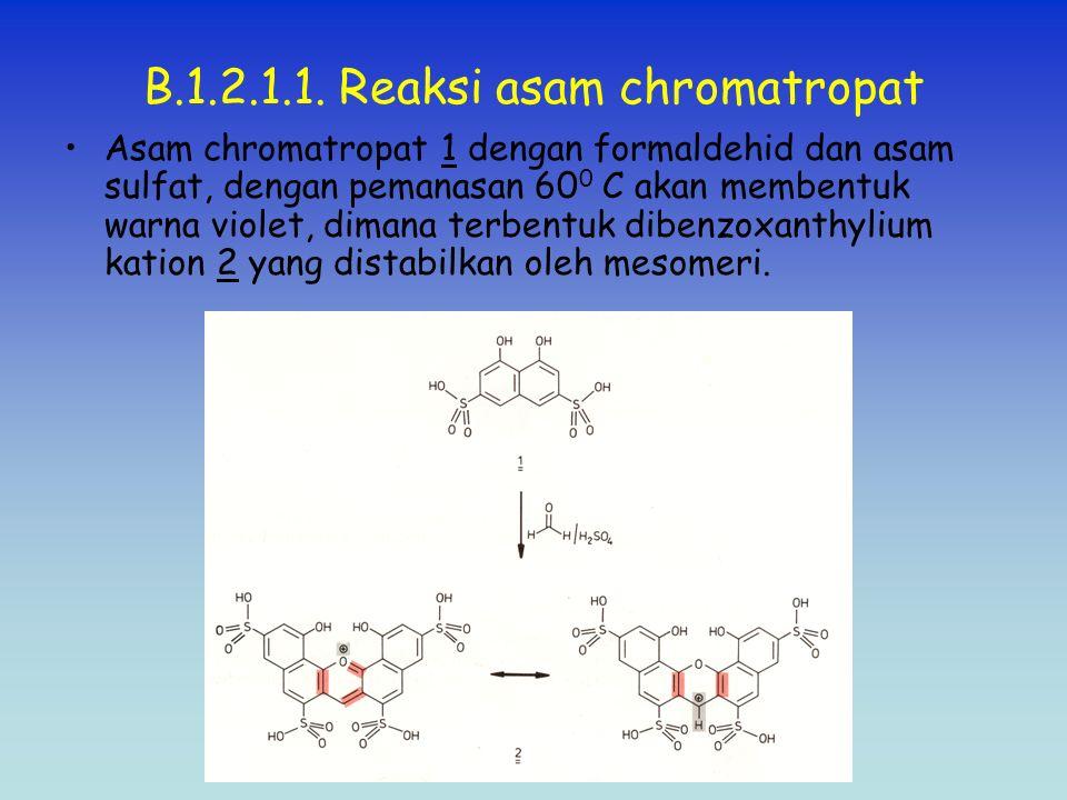 B.1.2.1.1. Reaksi asam chromatropat Asam chromatropat 1 dengan formaldehid dan asam sulfat, dengan pemanasan 60 0 C akan membentuk warna violet, diman