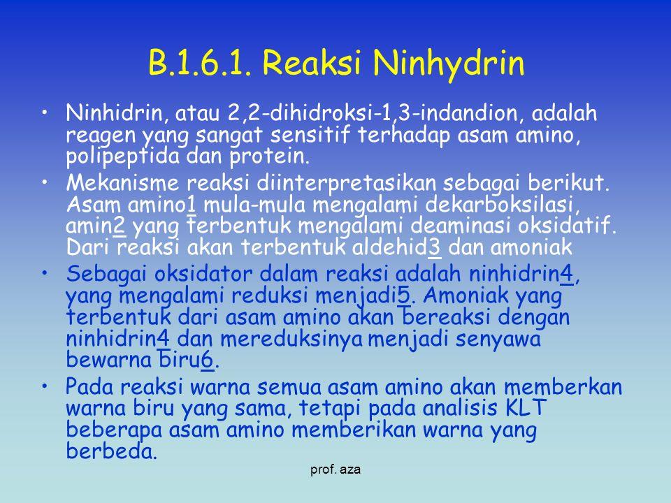 B.1.6.1. Reaksi Ninhydrin Ninhidrin, atau 2,2-dihidroksi-1,3-indandion, adalah reagen yang sangat sensitif terhadap asam amino, polipeptida dan protei