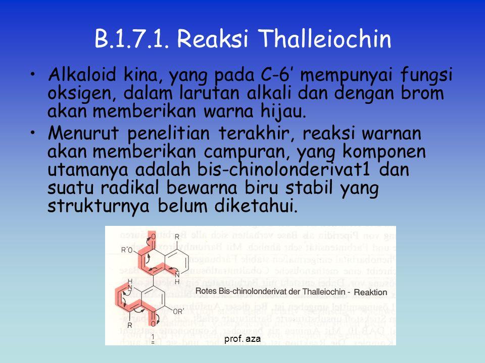 B.1.7.1. Reaksi Thalleiochin Alkaloid kina, yang pada C-6' mempunyai fungsi oksigen, dalam larutan alkali dan dengan brom akan memberikan warna hijau.