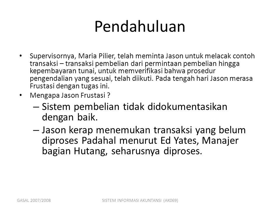GASAL 2007/2008SISTEM INFORMASI AKUNTANSI (AK069) Pendahuluan Supervisornya, Maria Pilier, telah meminta Jason untuk melacak contoh transaksi – transa