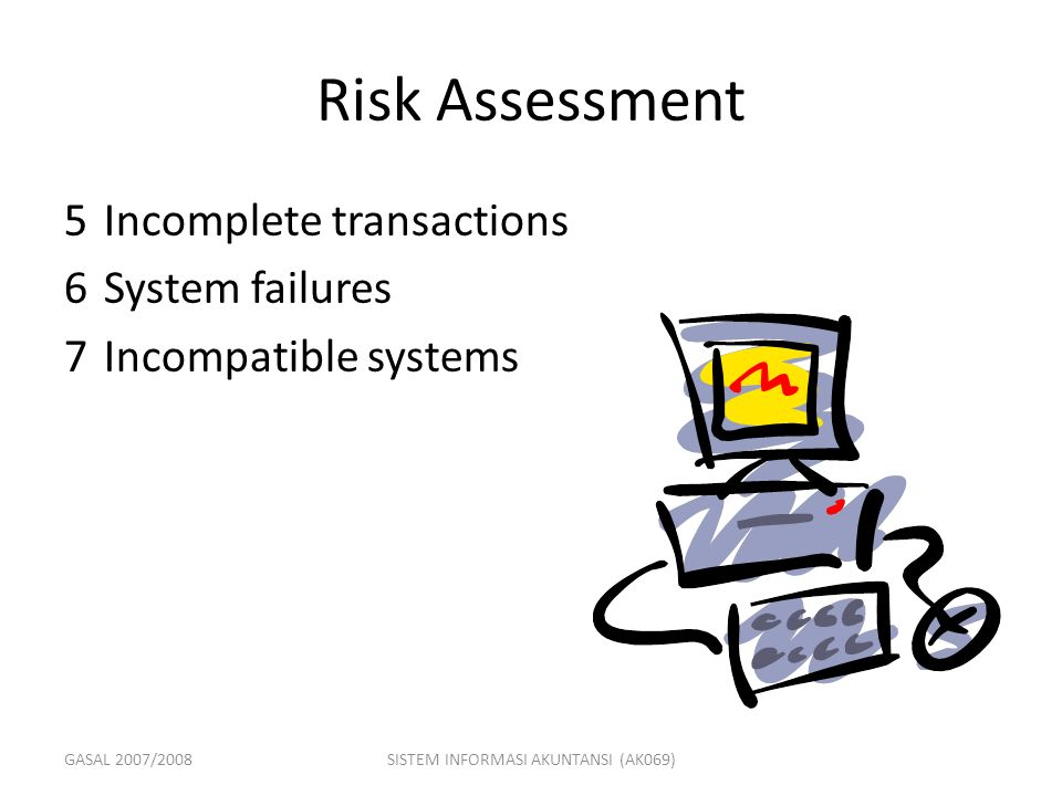 GASAL 2007/2008SISTEM INFORMASI AKUNTANSI (AK069) Risk Assessment 5Incomplete transactions 6System failures 7Incompatible systems