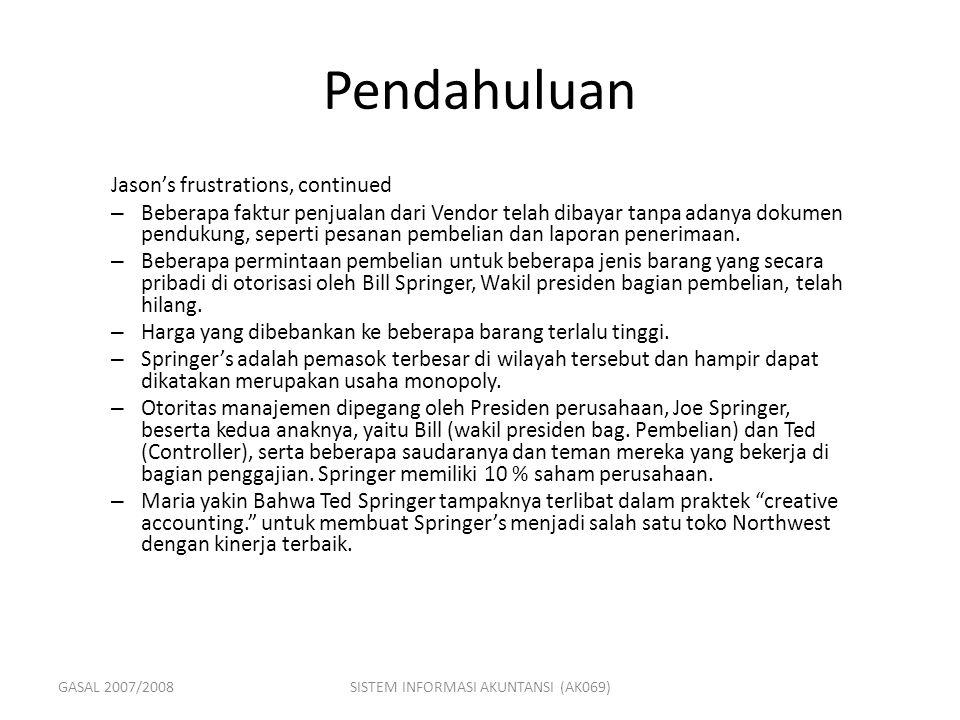 GASAL 2007/2008SISTEM INFORMASI AKUNTANSI (AK069) Case Conclusion What happened to Jason's report.