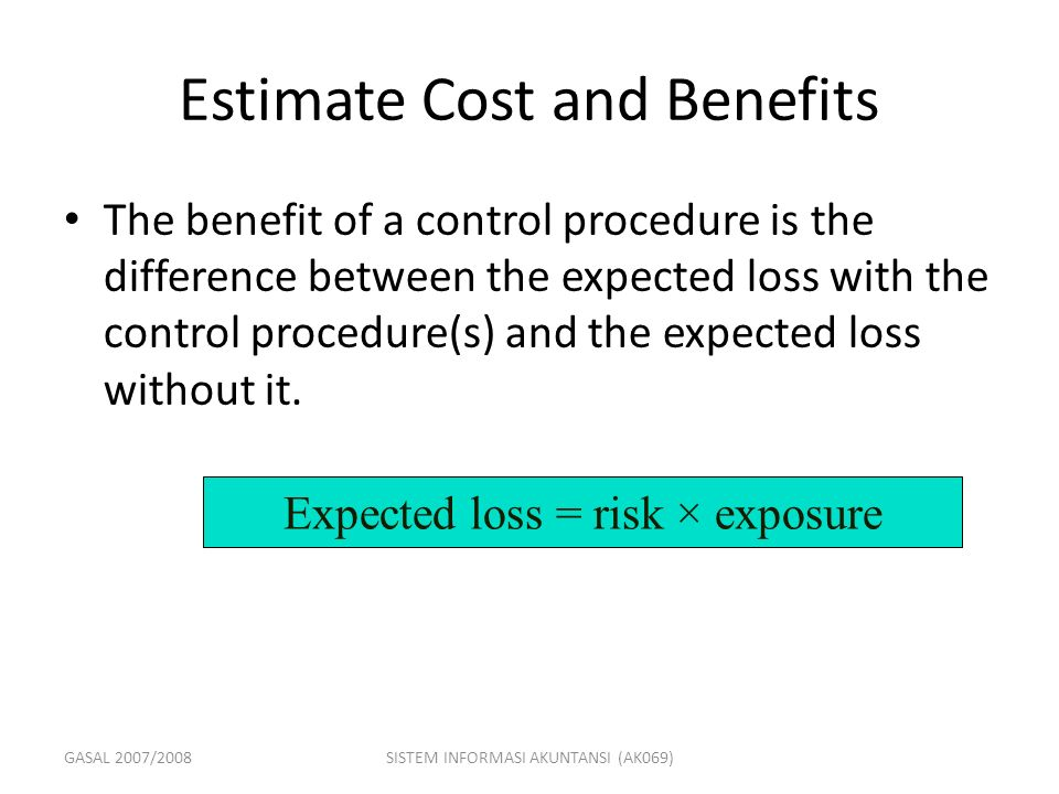 GASAL 2007/2008SISTEM INFORMASI AKUNTANSI (AK069) Expected loss = risk × exposure Estimate Cost and Benefits The benefit of a control procedure is the