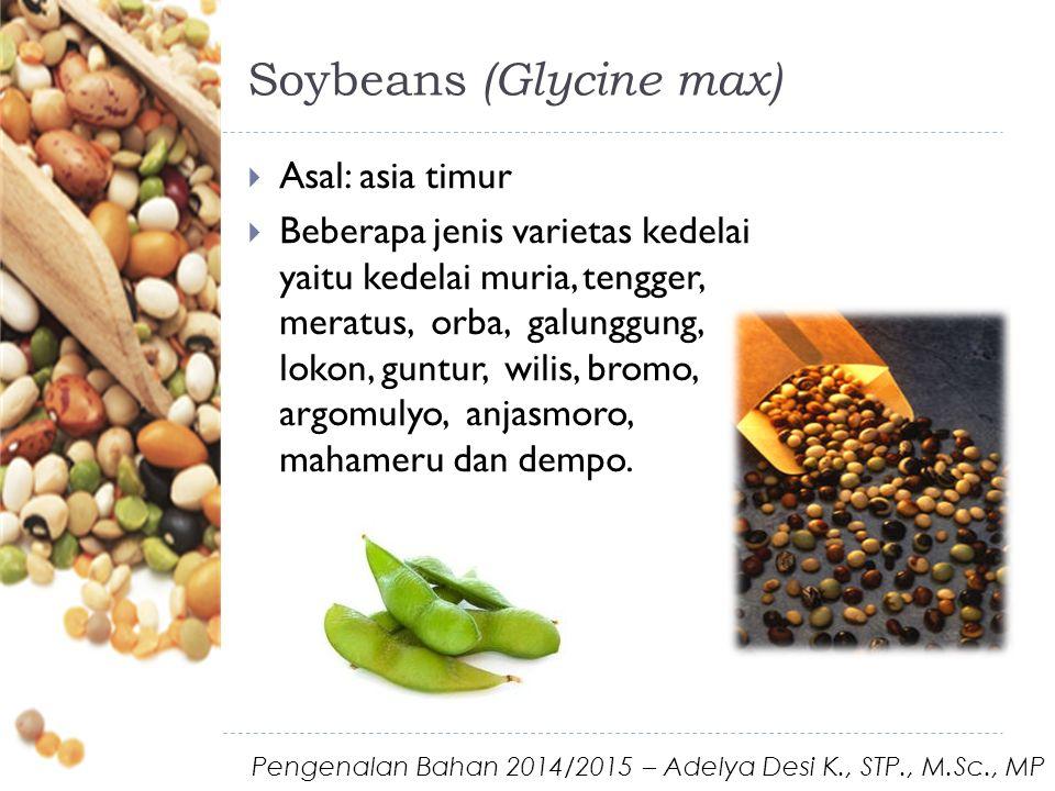 Soybeans (Glycine max)  Asal: asia timur  Beberapa jenis varietas kedelai yaitu kedelai muria, tengger, meratus, orba, galunggung, lokon, guntur, wilis, bromo, argomulyo, anjasmoro, mahameru dan dempo.