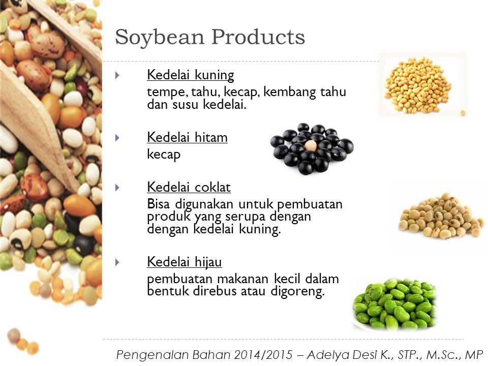 Soybean Products  Kedelai kuning tempe, tahu, kecap, kembang tahu dan susu kedelai.  Kedelai hitam kecap  Kedelai coklat Bisa digunakan untuk pembu