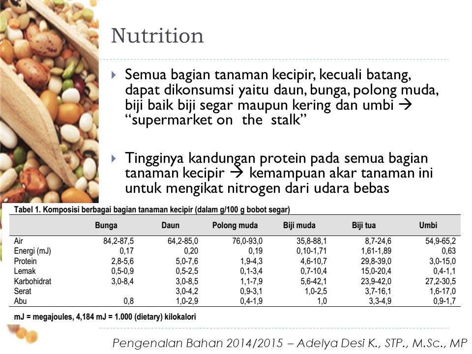 Nutrition  Semua bagian tanaman kecipir, kecuali batang, dapat dikonsumsi yaitu daun, bunga, polong muda, biji baik biji segar maupun kering dan umbi