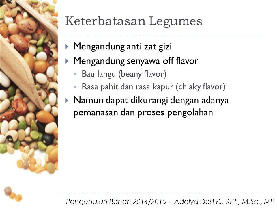 Keterbatasan Legumes  Mengandung anti zat gizi  Mengandung senyawa off flavor  Bau langu (beany flavor)  Rasa pahit dan rasa kapur (chlaky flavor)