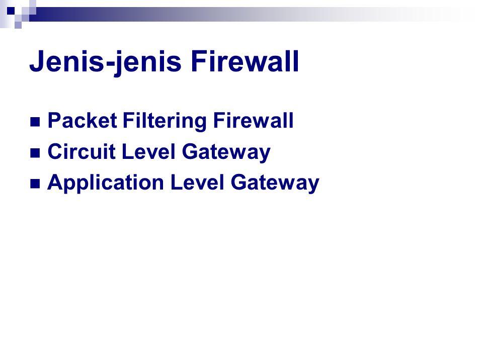 Jenis-jenis Firewall Packet Filtering Firewall Circuit Level Gateway Application Level Gateway