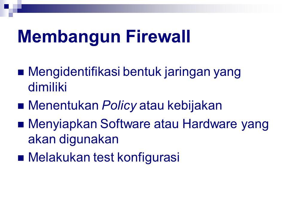 Membangun Firewall Mengidentifikasi bentuk jaringan yang dimiliki Menentukan Policy atau kebijakan Menyiapkan Software atau Hardware yang akan digunak