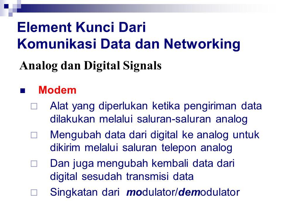 Modem  Alat yang diperlukan ketika pengiriman data dilakukan melalui saluran-saluran analog  Mengubah data dari digital ke analog untuk dikirim mela