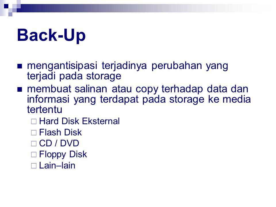 Back-Up mengantisipasi terjadinya perubahan yang terjadi pada storage membuat salinan atau copy terhadap data dan informasi yang terdapat pada storage
