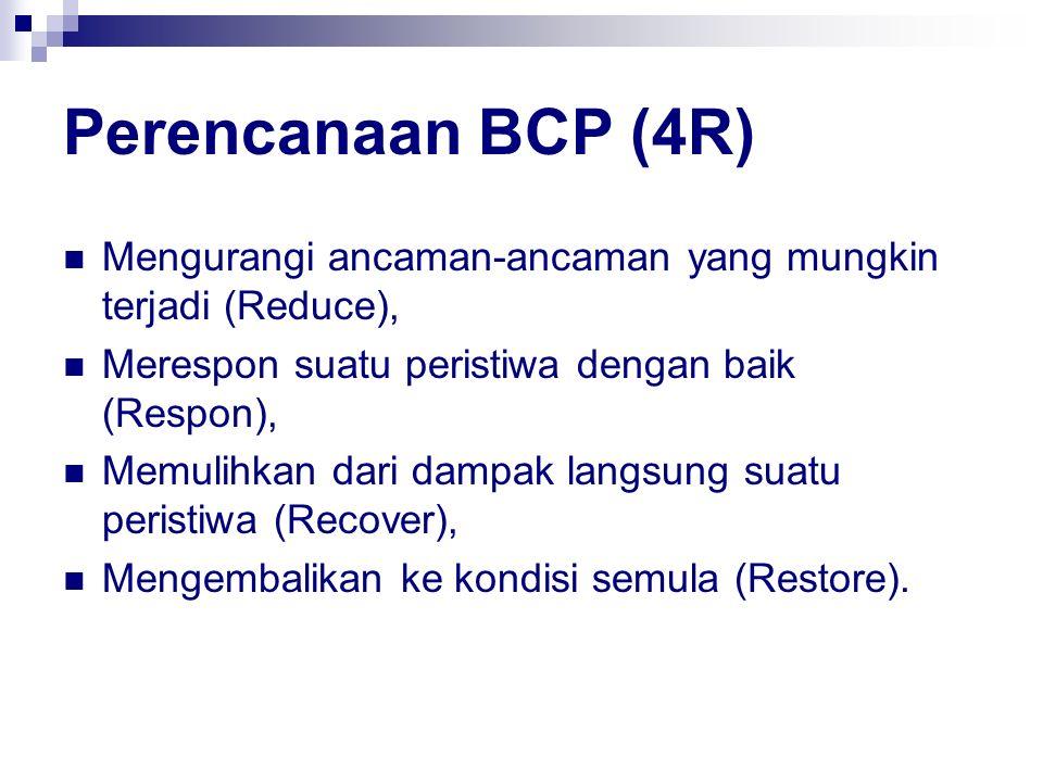 Perencanaan BCP (4R) Mengurangi ancaman-ancaman yang mungkin terjadi (Reduce), Merespon suatu peristiwa dengan baik (Respon), Memulihkan dari dampak l