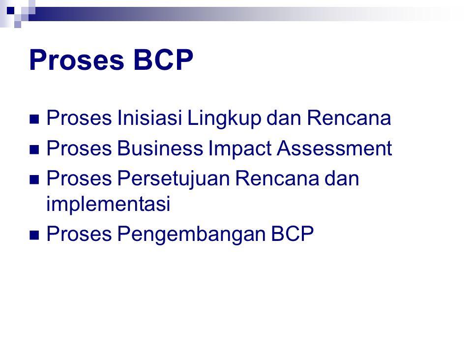 Proses BCP Proses Inisiasi Lingkup dan Rencana Proses Business Impact Assessment Proses Persetujuan Rencana dan implementasi Proses Pengembangan BCP