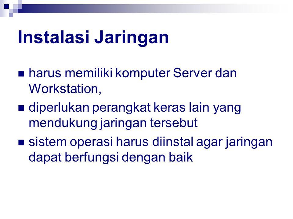 Instalasi Jaringan harus memiliki komputer Server dan Workstation, diperlukan perangkat keras lain yang mendukung jaringan tersebut sistem operasi har