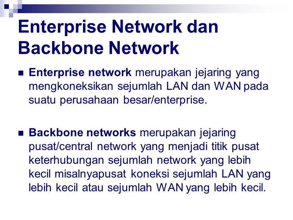 Enterprise Network dan Backbone Network Enterprise network merupakan jejaring yang mengkoneksikan sejumlah LAN dan WAN pada suatu perusahaan besar/ent