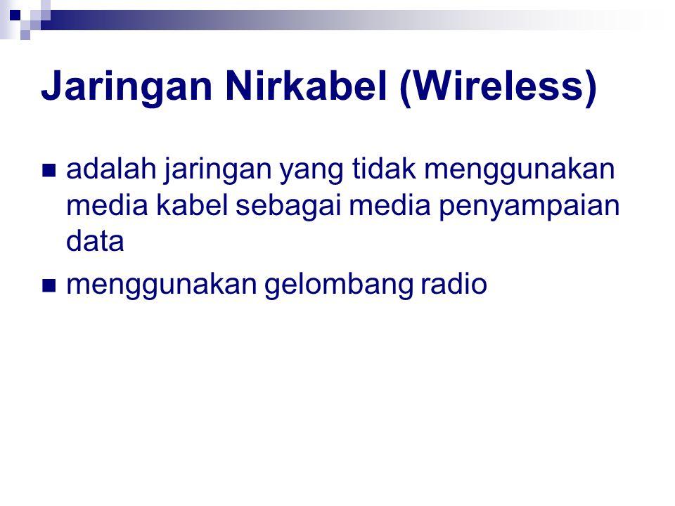 Jaringan Nirkabel (Wireless) adalah jaringan yang tidak menggunakan media kabel sebagai media penyampaian data menggunakan gelombang radio