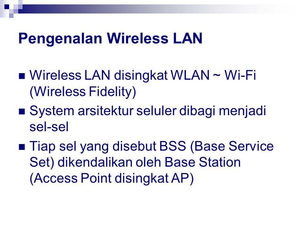 Pengenalan Wireless LAN Wireless LAN disingkat WLAN ~ Wi-Fi (Wireless Fidelity) System arsitektur seluler dibagi menjadi sel-sel Tiap sel yang disebut