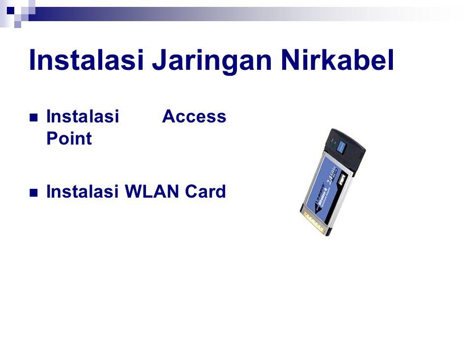 Instalasi Jaringan Nirkabel Instalasi Access Point Instalasi WLAN Card