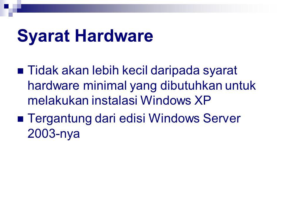 Syarat Hardware Tidak akan lebih kecil daripada syarat hardware minimal yang dibutuhkan untuk melakukan instalasi Windows XP Tergantung dari edisi Win