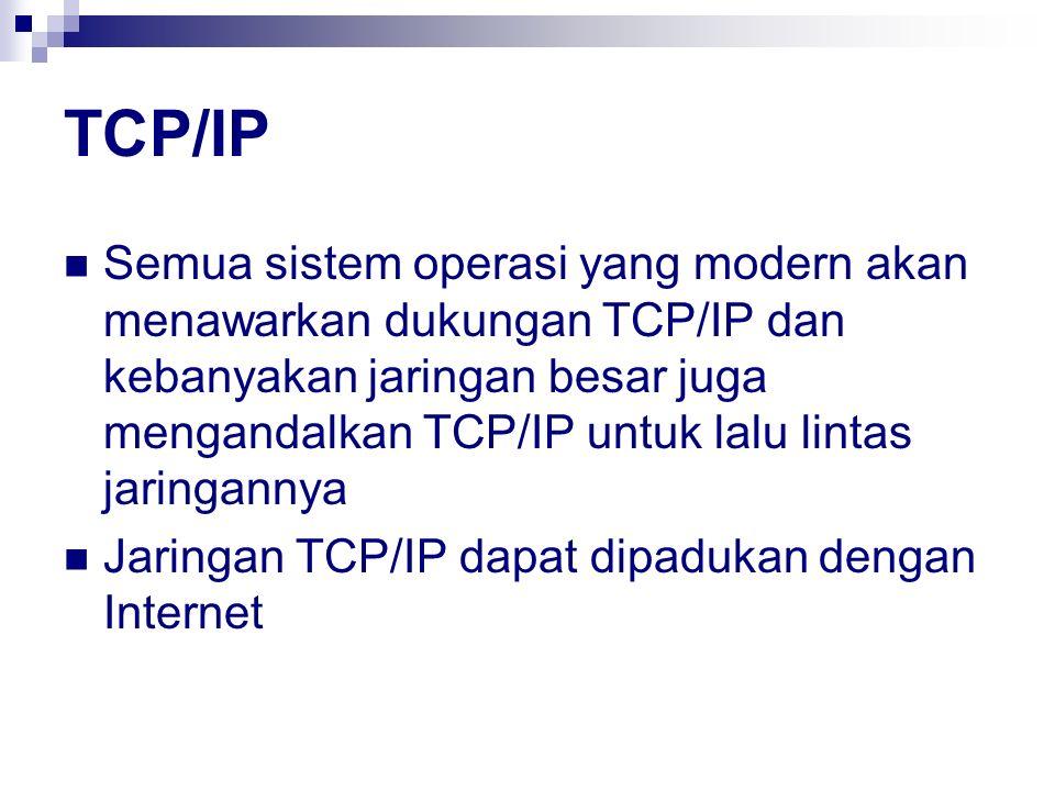 TCP/IP Semua sistem operasi yang modern akan menawarkan dukungan TCP/IP dan kebanyakan jaringan besar juga mengandalkan TCP/IP untuk lalu lintas jarin