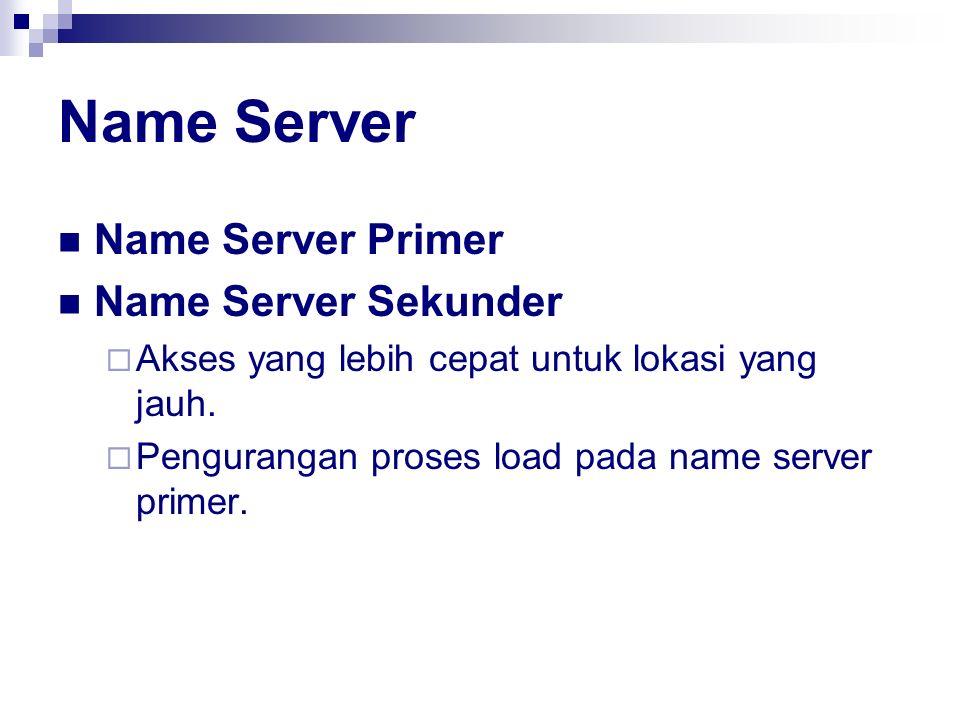 Name Server Name Server Primer Name Server Sekunder  Akses yang lebih cepat untuk lokasi yang jauh.  Pengurangan proses load pada name server primer