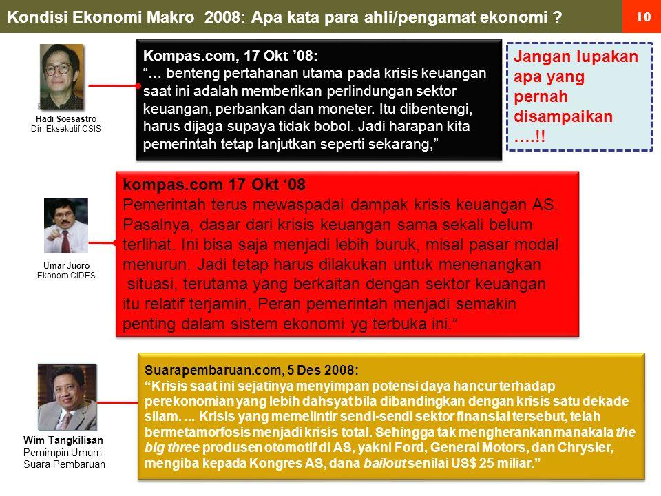 10 Kondisi Ekonomi Makro 2008: Apa kata para ahli/pengamat ekonomi .