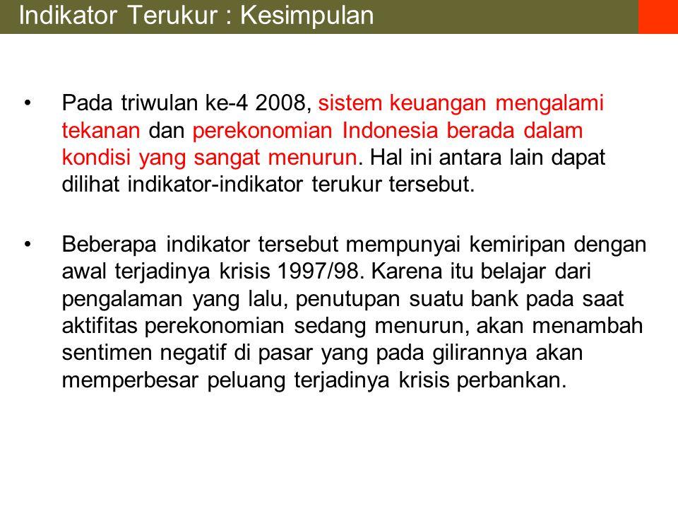 Indikator Terukur : Kesimpulan Pada triwulan ke-4 2008, sistem keuangan mengalami tekanan dan perekonomian Indonesia berada dalam kondisi yang sangat menurun.