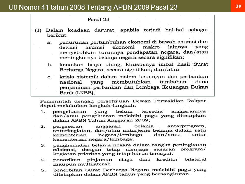 29 UU Nomor 41 tahun 2008 Tentang APBN 2009 Pasal 23