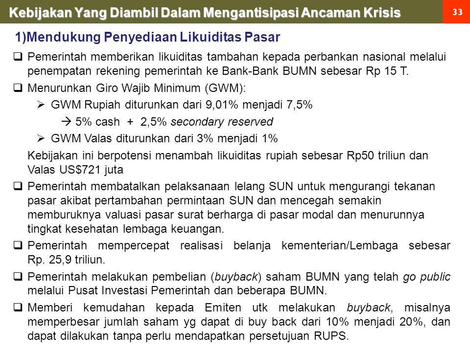 Kebijakan Yang Diambil Dalam Mengantisipasi Ancaman Krisis 33  Pemerintah memberikan likuiditas tambahan kepada perbankan nasional melalui penempatan rekening pemerintah ke Bank-Bank BUMN sebesar Rp 15 T.