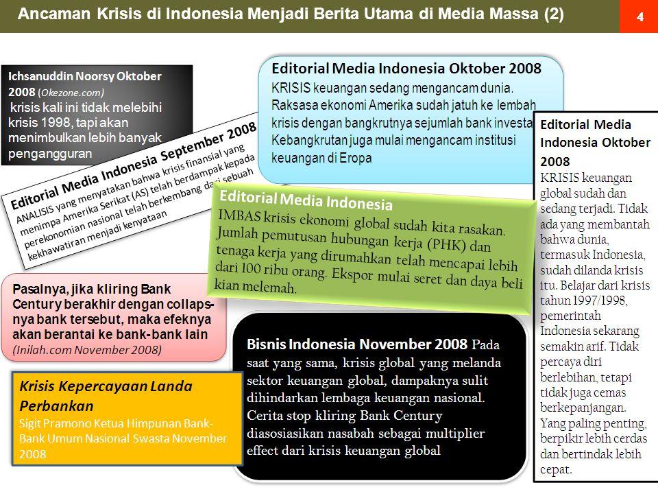 15 Ancaman Krisis di Indonesia tercermin dari indikator2 terukur sbb: Pasar modal domestik mengalami gejolak dan koreksi tajam ditunjukkan dengan penurunan indeks harga saham gabungan (IHSG) secara tajam yakni dari 2830 pada tanggal 9 Januari 2008 menjadi 1155 pada tanggal 20 November 2008 atau menurun lebih dari 50% 1 1 Nilai kekayaan perusahaan menciut … Catatan : Indikator-indikator ini adalah indikator dini atas datangnnya ancaman krisis sebelum menyentuh sektor riil