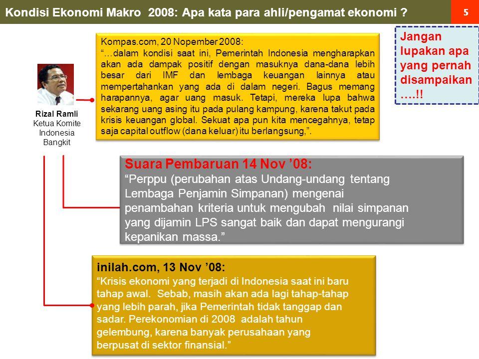 46 Data hasil suatu kebijakan: INDIKATOR UTAMA POSITIF IHSG & Rupiah Menguat Yield SUN Turun Volatilitas Rupiah Turun Tingkat Risiko Turun Nov '08