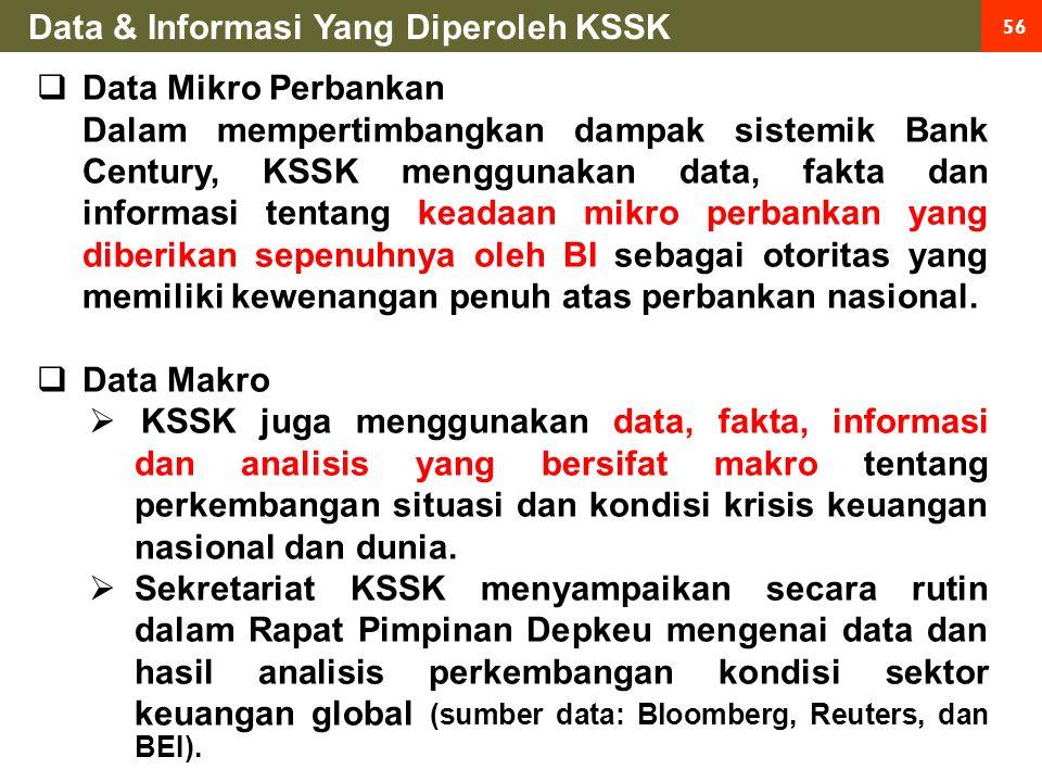 56  Data Mikro Perbankan Dalam mempertimbangkan dampak sistemik Bank Century, KSSK menggunakan data, fakta dan informasi tentang keadaan mikro perbankan yang diberikan sepenuhnya oleh BI sebagai otoritas yang memiliki kewenangan penuh atas perbankan nasional.