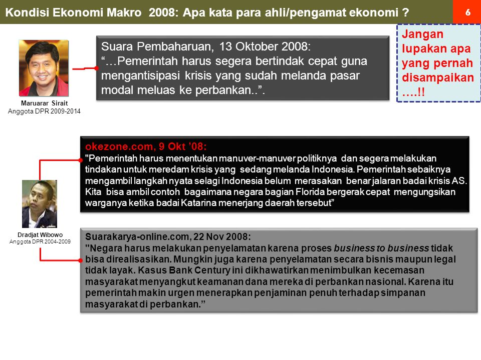 7 7 Kondisi Ekonomi Makro 2008: Apa kata para ahli/pengamat ekonomi.