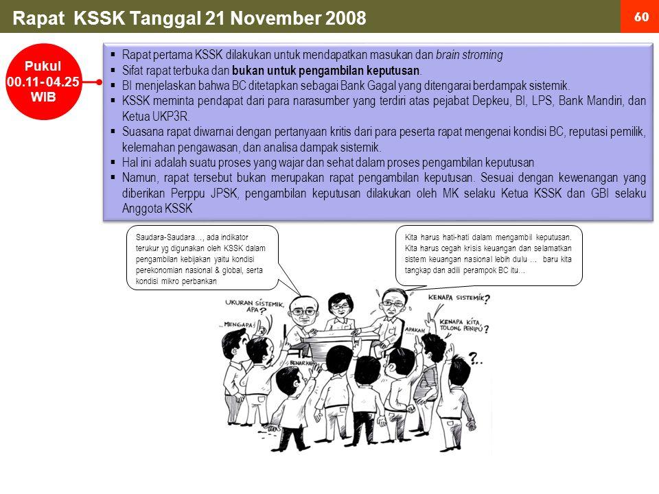 60 Rapat KSSK Tanggal 21 November 2008 Pukul 00.11- 04.25 WIB  Rapat pertama KSSK dilakukan untuk mendapatkan masukan dan brain stroming  Sifat rapat terbuka dan bukan untuk pengambilan keputusan.