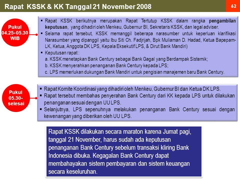 62 Rapat KSSK & KK Tanggal 21 November 2008  Rapat KSSK berikutnya merupakan Rapat Tertutup KSSK dalam rangka pengambilan keputusan, yang dihadiri oleh Menkeu, Gubernur BI, Sekretaris KSSK, dan legal adviser.
