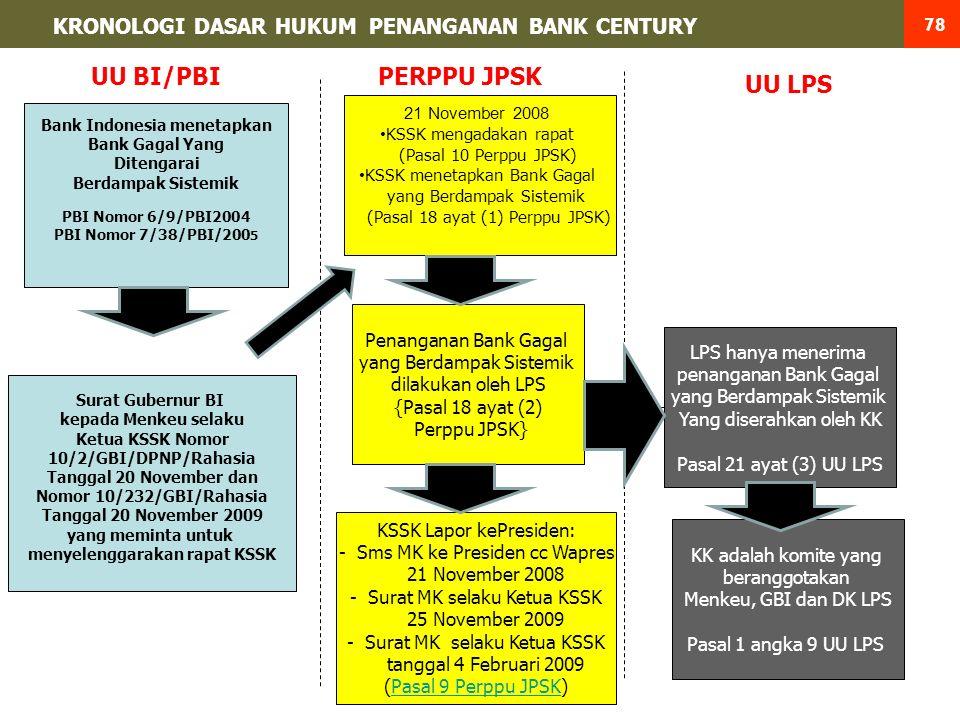 Bank Indonesia menetapkan Bank Gagal Yang Ditengarai Berdampak Sistemik PBI Nomor 6/9/PBI2004 PBI Nomor 7/38/PBI/200 5 21 November 2008 KSSK mengadakan rapat (Pasal 10 Perppu JPSK) KSSK menetapkan Bank Gagal yang Berdampak Sistemik (Pasal 18 ayat (1) Perppu JPSK) Penanganan Bank Gagal yang Berdampak Sistemik dilakukan oleh LPS {Pasal 18 ayat (2) Perppu JPSK} LPS hanya menerima penanganan Bank Gagal yang Berdampak Sistemik Yang diserahkan oleh KK Pasal 21 ayat (3) UU LPS KK adalah komite yang beranggotakan Menkeu, GBI dan DK LPS Pasal 1 angka 9 UU LPS UU LPS PERPPU JPSK Surat Gubernur BI kepada Menkeu selaku Ketua KSSK Nomor 10/2/GBI/DPNP/Rahasia Tanggal 20 November dan Nomor 10/232/GBI/Rahasia Tanggal 20 November 2009 yang meminta untuk menyelenggarakan rapat KSSK UU BI/PBI KSSK Lapor kePresiden: -Sms MK ke Presiden cc Wapres 21 November 2008 -Surat MK selaku Ketua KSSK 25 November 2009 -Surat MK selaku Ketua KSSK tanggal 4 Februari 2009 (Pasal 9 Perppu JPSK)Pasal 9 Perppu JPSK KRONOLOGI DASAR HUKUM PENANGANAN BANK CENTURY 78