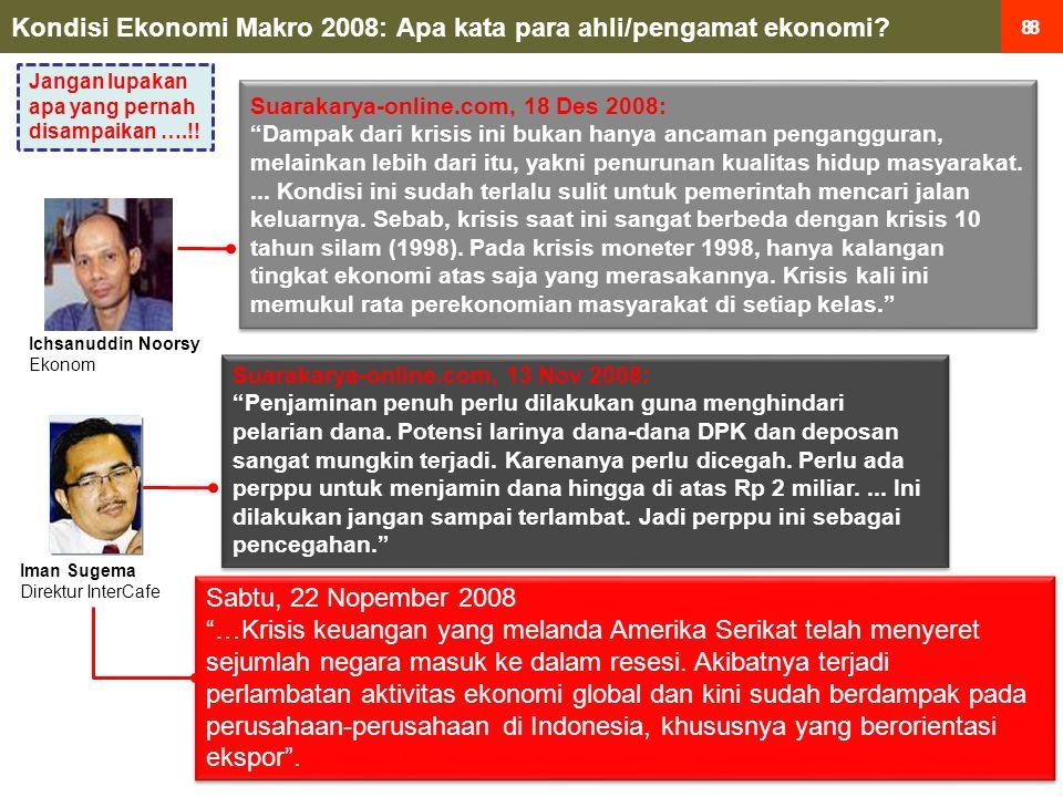 8 8 Kondisi Ekonomi Makro 2008: Apa kata para ahli/pengamat ekonomi.
