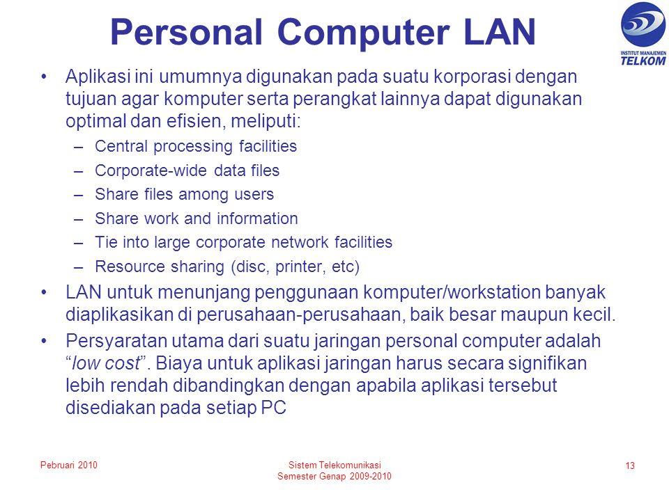 Personal Computer LAN Aplikasi ini umumnya digunakan pada suatu korporasi dengan tujuan agar komputer serta perangkat lainnya dapat digunakan optimal