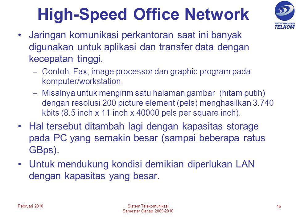 High-Speed Office Network Jaringan komunikasi perkantoran saat ini banyak digunakan untuk aplikasi dan transfer data dengan kecepatan tinggi.